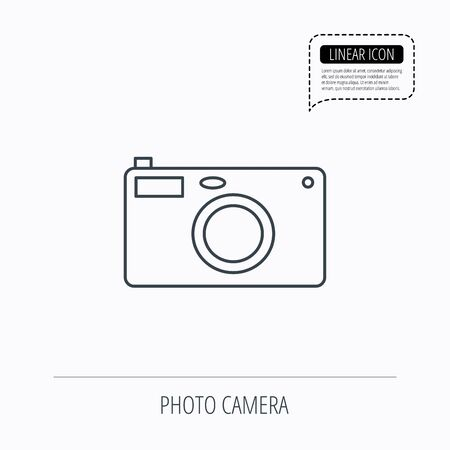 photo icon: Photo camera icon. Photographer equipment sign. Linear outline icon. Speech bubble of dotted line. Vector Illustration