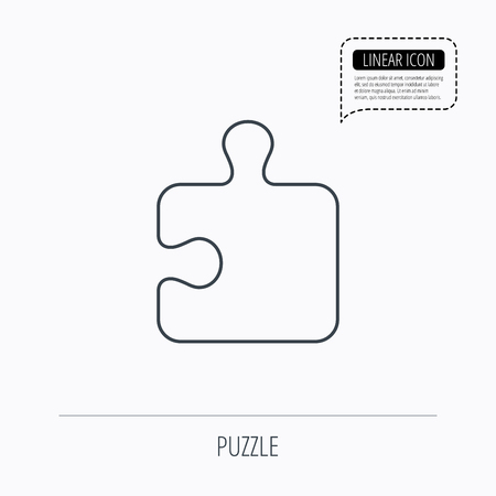 logical: Puzzle icon. Jigsaw logical game sign. Boardgame piece symbol. Linear outline icon. Speech bubble of dotted line. Vector