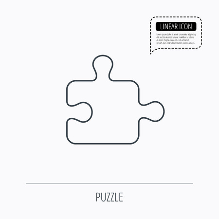 psychic: Puzzle icon. Jigsaw logical game sign. Boardgame piece symbol. Linear outline icon. Speech bubble of dotted line. Vector