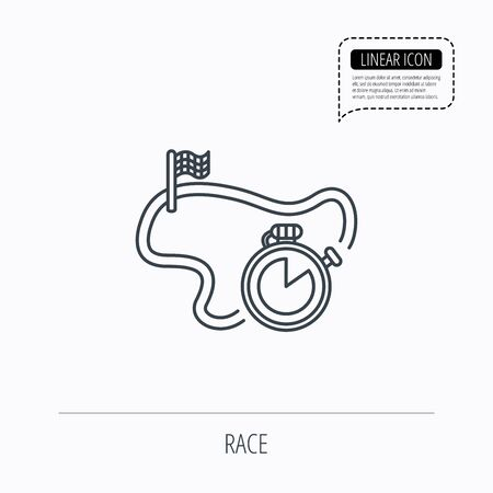 checked flag: Race road icon. Finishing flag with timer sign. Linear outline icon. Speech bubble of dotted line. Vector