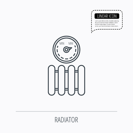 regulator: Radiator with regulator icon. Heater sign. Maximum temperature. Linear outline icon. Speech bubble of dotted line. Vector