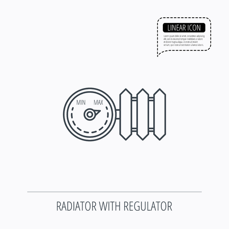 regulator: Radiator with regulator icon. Heater sign. Linear outline icon. Speech bubble of dotted line. Vector