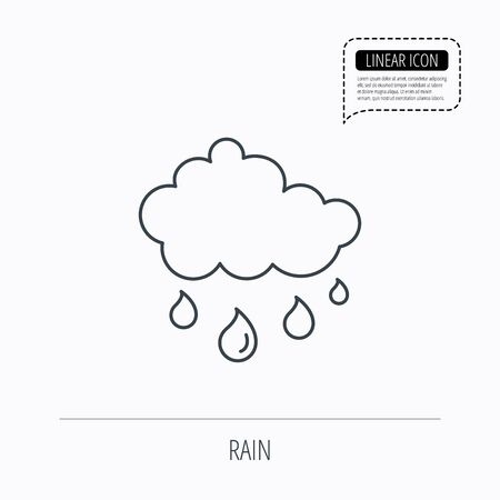 overcast: Rain icon. Water drops and cloud sign. Rainy overcast day symbol. Linear outline icon. Speech bubble of dotted line. Vector