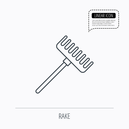 gardening  equipment: Rake icon. Gardening equipment sign. Outdoor instrument symbol. Linear outline icon. Speech bubble of dotted line. Vector