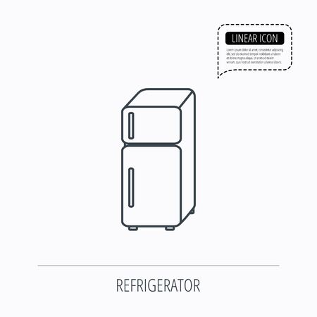 icebox: Refrigerator icon. Fridge sign. Linear outline icon. Speech bubble of dotted line. Vector