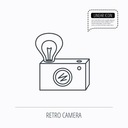 lamp outline: Retro photo camera icon. Photographer equipment sign. Camera with lamp flash. Linear outline icon. Speech bubble of dotted line. Vector