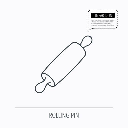 kneading: Rolling pin icon. Kitchen baker roller sign. Linear outline icon. Speech bubble of dotted line. Vector Illustration