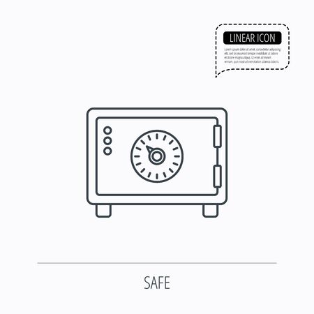 combination safe: Safe icon. Money deposit sign. Combination lock symbol. Linear outline icon. Speech bubble of dotted line. Vector Illustration