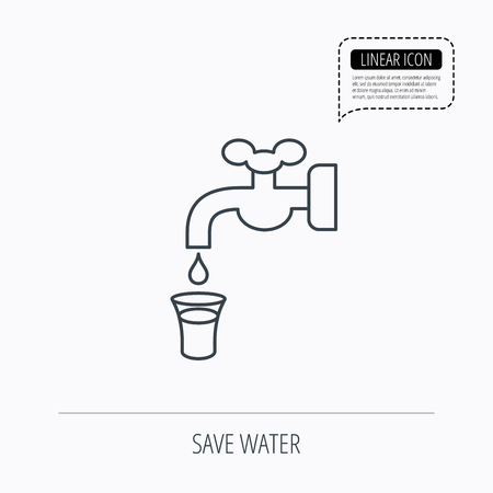 waterworks: Save water icon. Crane or Faucet with drop sign. Linear outline icon. Speech bubble of dotted line. Vector