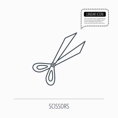 secateurs: Gardening scissors icon. Secateurs tool sign symbol. Linear outline icon. Speech bubble of dotted line. Vector Illustration