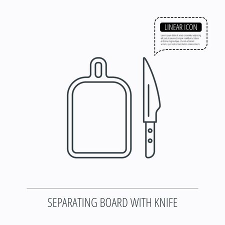 separating: Separating board icon. Kitchen knife sign. Linear outline icon. Speech bubble of dotted line. Vector