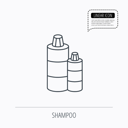 shampoo bottles: Shampoo bottles icon. Liquid soap sign. Linear outline icon. Speech bubble of dotted line. Vector