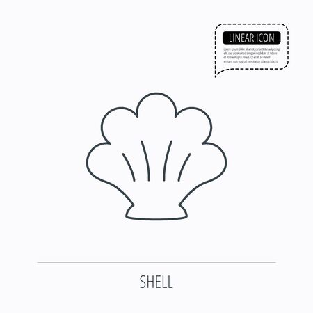 mollusk: Sea shell icon. Seashell sign. Mollusk shell symbol. Linear outline icon. Speech bubble of dotted line. Vector Illustration