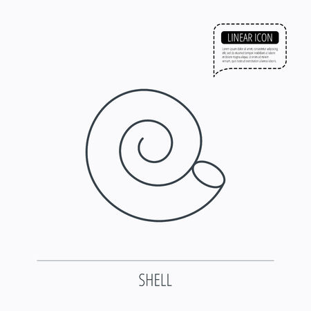 mollusk: Sea shell icon. Spiral seashell sign. Mollusk shell symbol. Linear outline icon. Speech bubble of dotted line. Vector Illustration
