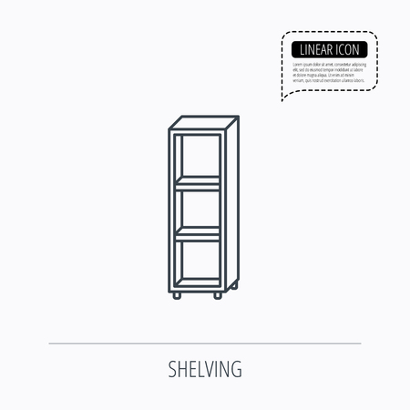 shelving: Empty shelves icon. Shelving sign. Linear outline icon. Speech bubble of dotted line. Vector Illustration