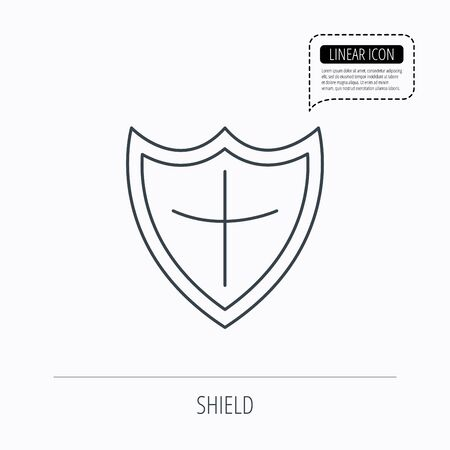 defence: Shield icon. Protection sign. Royal defence symbol. Linear outline icon. Speech bubble of dotted line. Vector