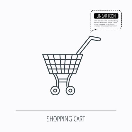 dealings: Shopping cart icon. Market buying sign. Linear outline icon. Speech bubble of dotted line. Vector Illustration