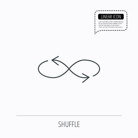 混合: Shuffle icon. Mixed arrows sign. Randomize symbol. Linear outline icon. Speech bubble of dotted line. Vector