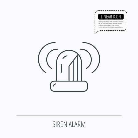 flashing light: Siren alarm icon. Alert flashing light sign. Linear outline icon. Speech bubble of dotted line. Vector