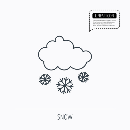 overcast: Snow icon. Snowflakes with cloud sign. Snowy overcast symbol. Linear outline icon. Speech bubble of dotted line. Vector
