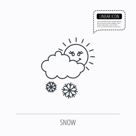 overcast: Snow with sun icon. Snowflakes with cloud sign. Snowy overcast symbol. Linear outline icon. Speech bubble of dotted line. Vector