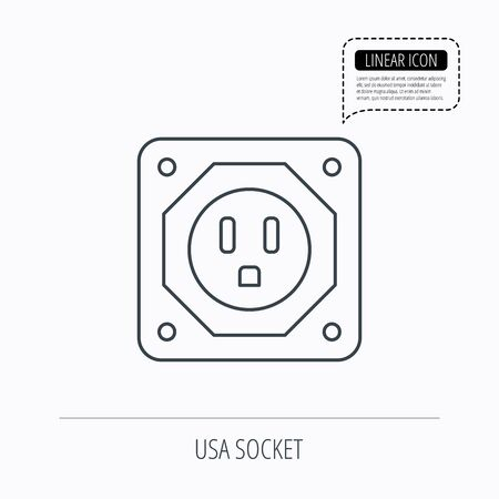 adapter: USA socket icon. Electricity power adapter sign. Linear outline icon. Speech bubble of dotted line. Vector
