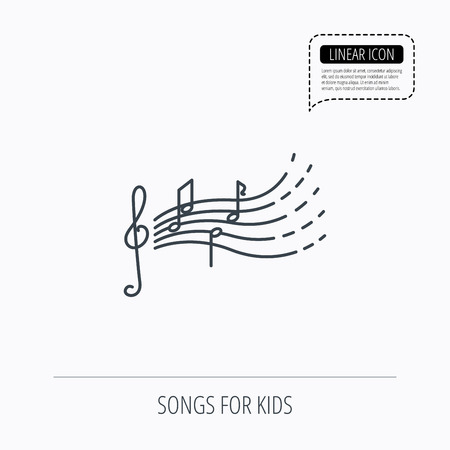 gclef: Songs for kids icon. Musical notes, melody sign. G-clef symbol. Linear outline icon. Speech bubble of dotted line. Vector