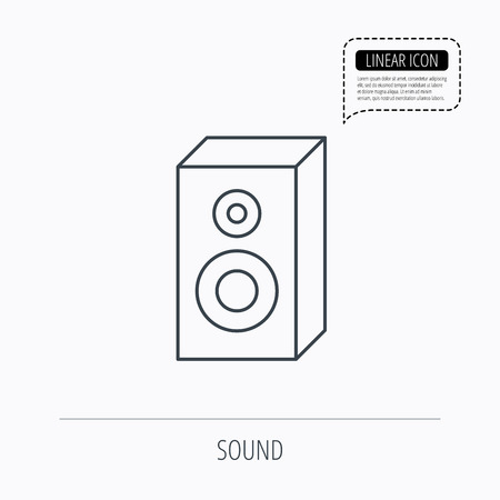 party system: Sound icon. Musical speaker sign. Linear outline icon. Speech bubble of dotted line. Vector Illustration