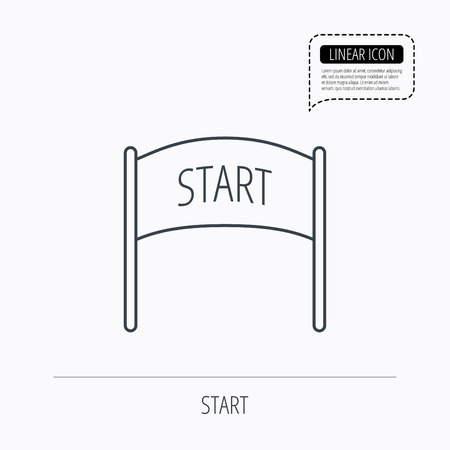 checkpoint: Start banner icon. Marathon checkpoint sign. Linear outline icon. Speech bubble of dotted line. Vector
