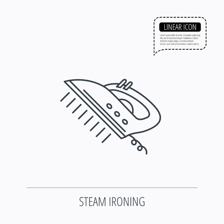 housework: Steam ironing icon. Iron housework tool sign. Linear outline icon. Speech bubble of dotted line. Vector Illustration