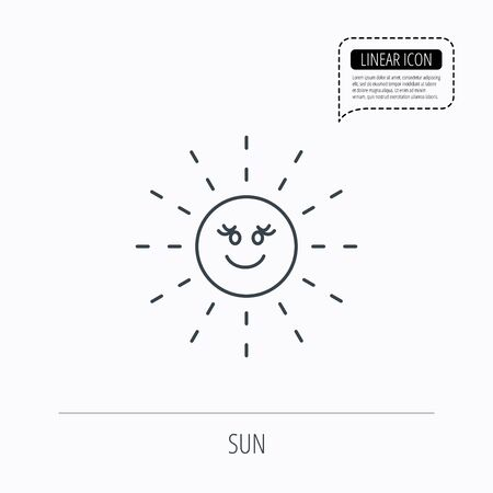 hot weather: Sun rays icon. Summer sign. Hot weather symbol. Linear outline icon. Speech bubble of dotted line. Vector