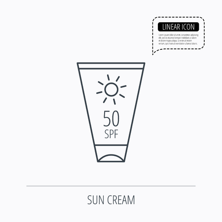 sun lotion: Sun cream container icon. Beach lotion sign. Linear outline icon. Speech bubble of dotted line. Vector Illustration