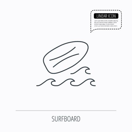 surfing waves: Surfboard icon. Surfing waves sign. Linear outline icon. Speech bubble of dotted line. Vector