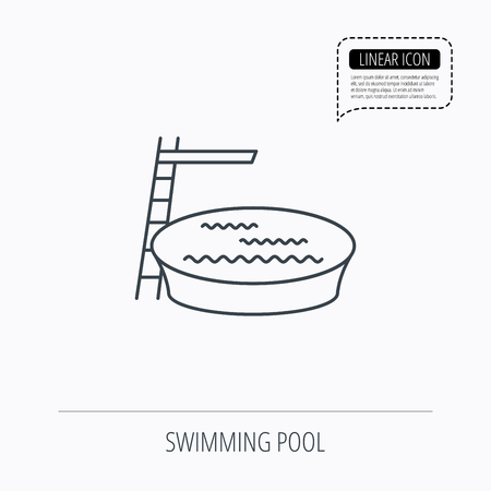 jumping into water: Swimming pool icon. Jumping into water sign. Linear outline icon. Speech bubble of dotted line. Vector