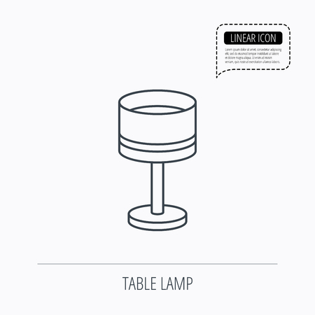 lamp outline: Table lamp icon. Desk light sign. Linear outline icon. Speech bubble of dotted line. Vector