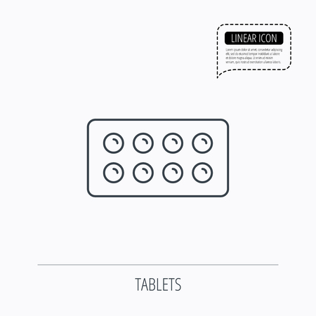 painkiller: Tablets icon. Medical pills sign. Painkiller drugs symbol. Linear outline icon. Speech bubble of dotted line. Vector