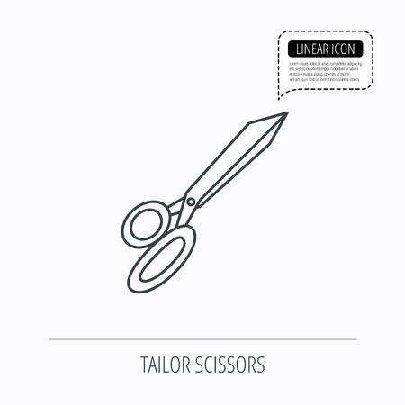 hairstyling: Tailor scissors icon. Hairdressing sign. Grooming symbol. Linear outline icon. Speech bubble of dotted line. Vector
