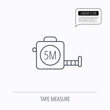 centimetre: Tape measurement icon. Roll ruler sign. Linear outline icon. Speech bubble of dotted line. Vector