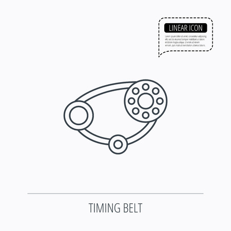 alternator: Timing belt icon. Generator strap sign. Repair service symbol. Linear outline icon. Speech bubble of dotted line. Vector Illustration