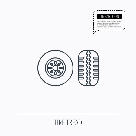tire tread: Tire tread icon. Car wheel sign. Linear outline icon. Speech bubble of dotted line. Vector