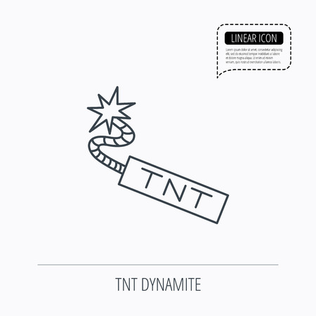 detonator: TNT dynamite icon. Bomb explosion sign. Linear outline icon. Speech bubble of dotted line. Vector Illustration