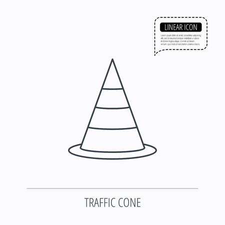 road warning sign: Traffic cone icon. Road warning sign. Linear outline icon. Speech bubble of dotted line. Vector