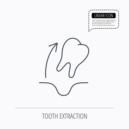 extraction: Tooth extraction icon. Dental paradontosis sign. Linear outline icon. Speech bubble of dotted line. Vector