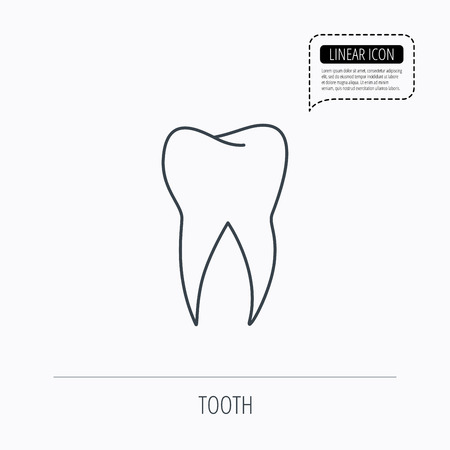stomatology: Tooth icon. Dental stomatology sign. Dentistry symbol. Linear outline icon. Speech bubble of dotted line. Vector Illustration