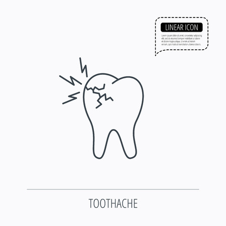 stomatologist: Toothache icon. Dental healthcare sign. Linear outline icon. Speech bubble of dotted line. Vector