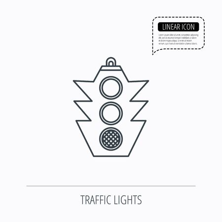 regulate: Traffic light icon. Safety direction regulate sign. Linear outline icon. Speech bubble of dotted line. Vector Illustration