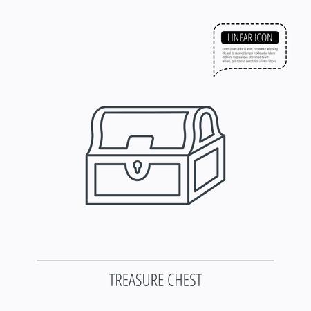 hoard: Treasure chest icon. Piratic treasury sign. Wealth symbol. Linear outline icon. Speech bubble of dotted line. Vector