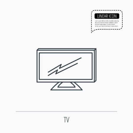 lcd display: Lcd tv icon. Led monitor sign. Widescreen display symbol. Linear outline icon. Speech bubble of dotted line. Vector