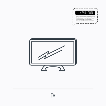 lcd: Lcd tv icon. Led monitor sign. Widescreen display symbol. Linear outline icon. Speech bubble of dotted line. Vector