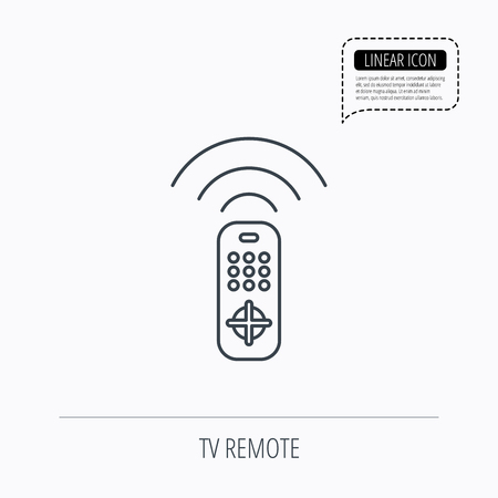 channels: Remote control icon. TV switching channels sign. Linear outline icon. Speech bubble of dotted line. Vector